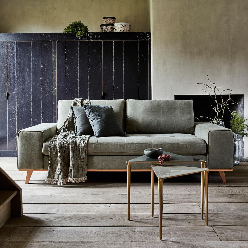 canap 3 places fixe en tissu kaki picabia canap s. Black Bedroom Furniture Sets. Home Design Ideas