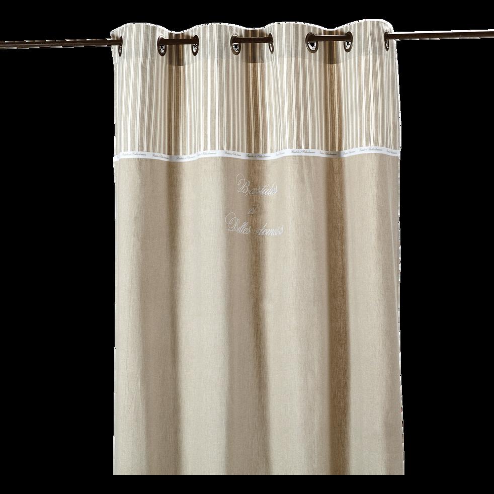 Rideau à œillets beige 140x250cm-BELLE