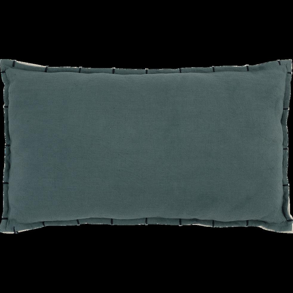 Coussin lin et coton 30x50cm vert-CALLELONGUE