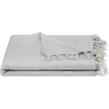 Plaid à franges en coton gris borie 130x170cm-CALANQUES