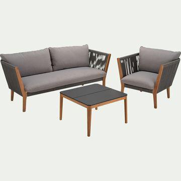 Salon de jardin en cordes et duraboard (3 places) - gris