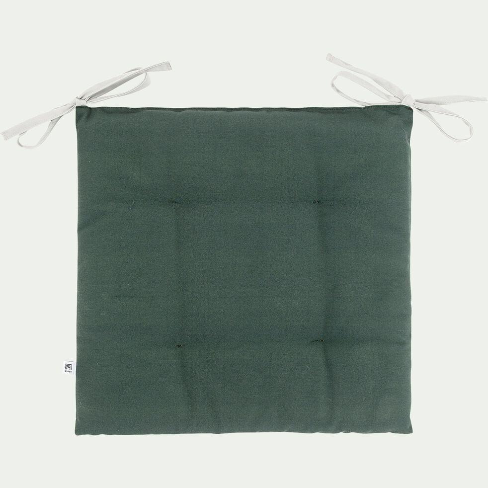 Galette de chaise de jardin en coton bicolore déperlant - vert-MIKO