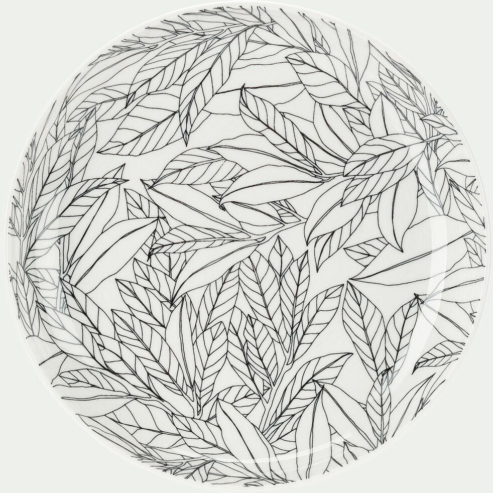 Assiette à dessert en porcelaine motifs laurier - gris D20cm-AIX