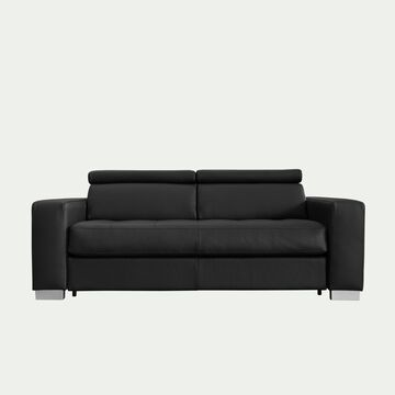 Canapé 2 places fixe en cuir avec accoudoir 20cm - noir-MAURO