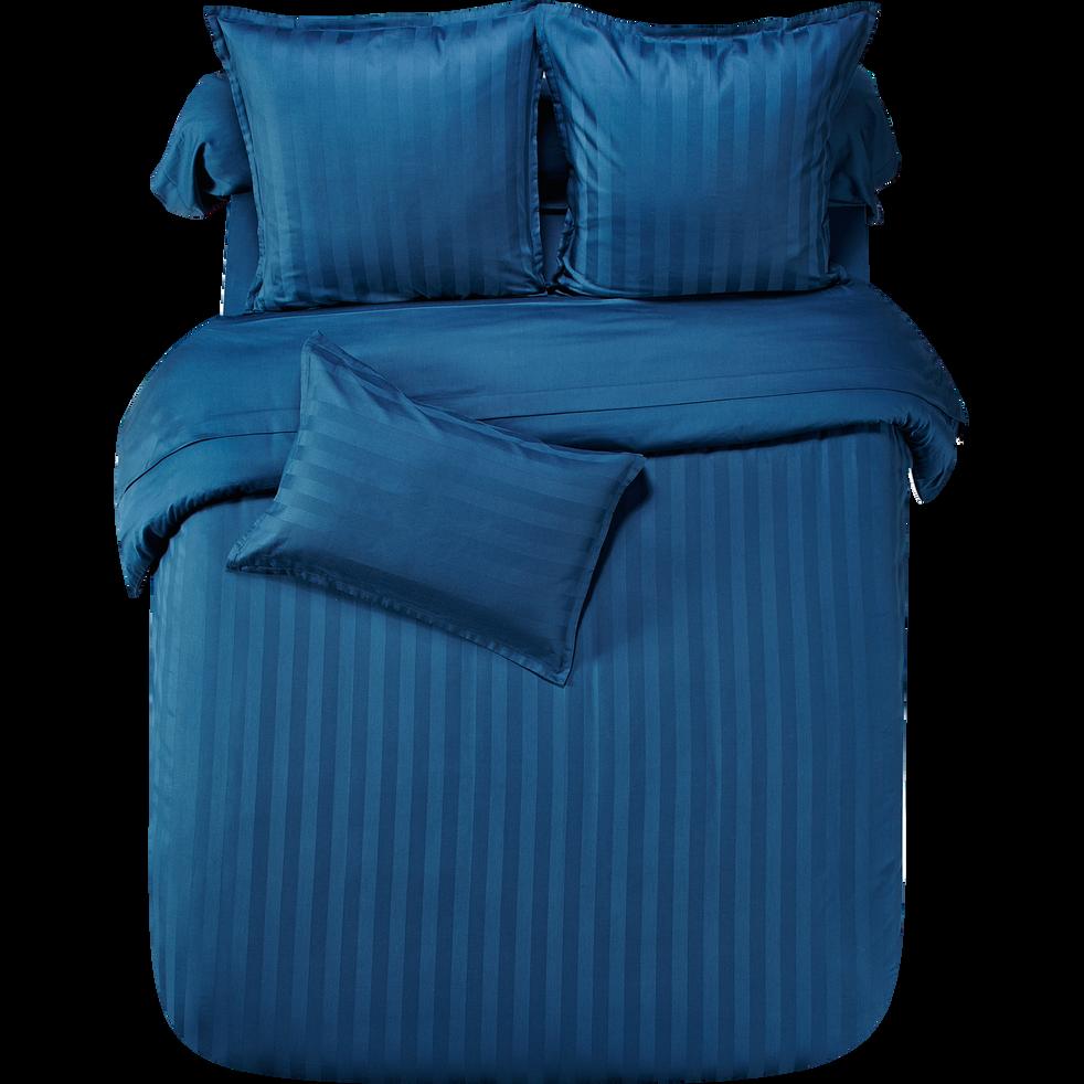 taie d 39 oreiller rectangulaire en coton satin bleu ray 50x70 cm marco taies d 39 oreillers. Black Bedroom Furniture Sets. Home Design Ideas