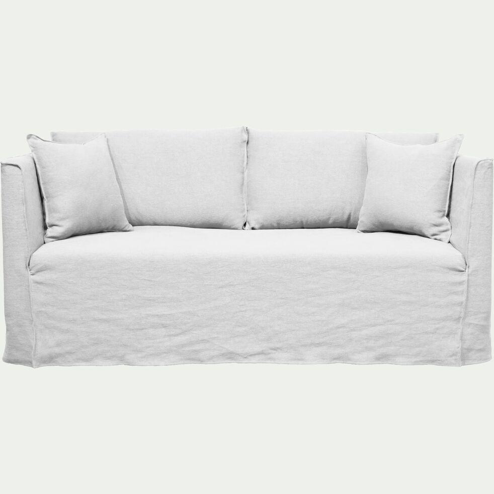 Canapé 3 places fixe en lin blanc capelan-VENCE
