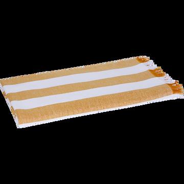 Drap de plage fouta rayé jaune et blanc 100x180cm-AVEIRO