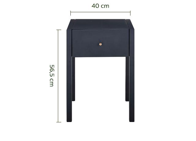 Chevet 1 tiroir métal noir-SERRA