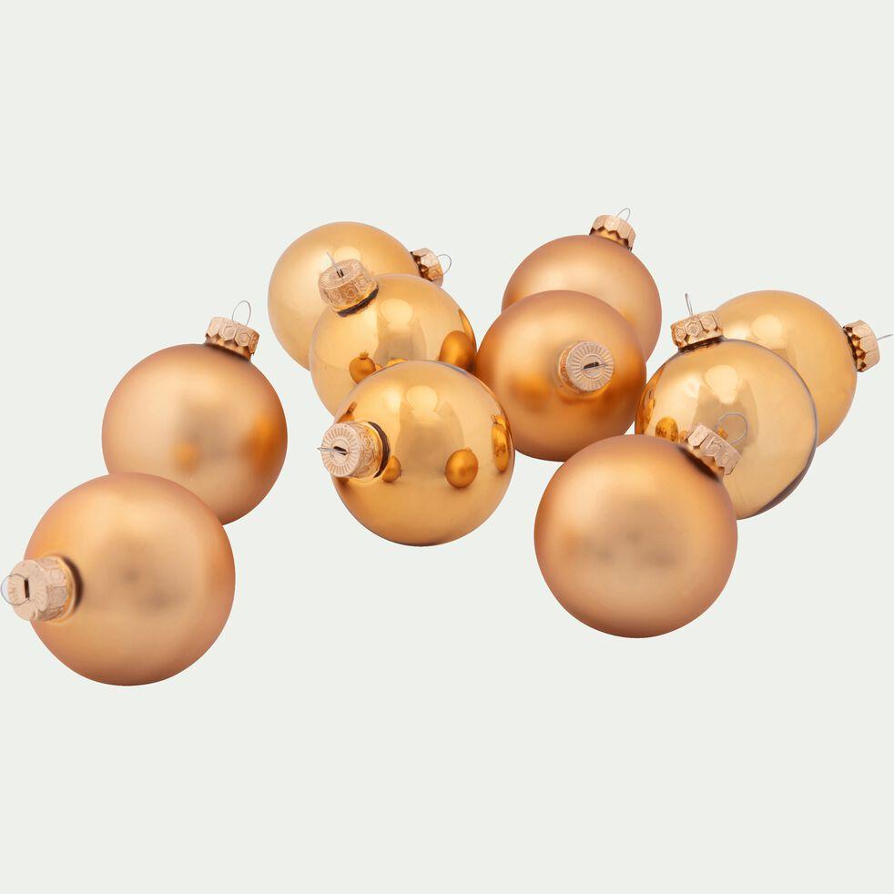 10 boules de Noël en verre doré D6cm-BOCCA