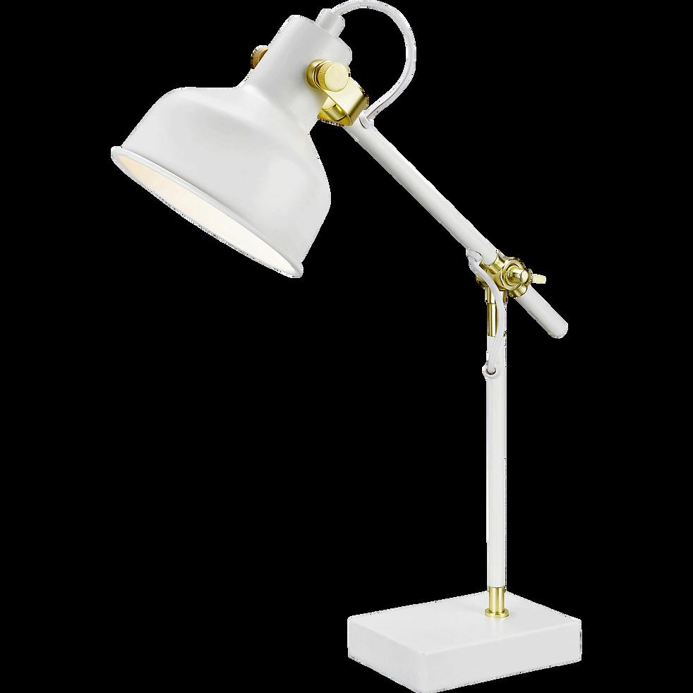 Lampe de bureau en métal blanc H50cm-PELISSANNE