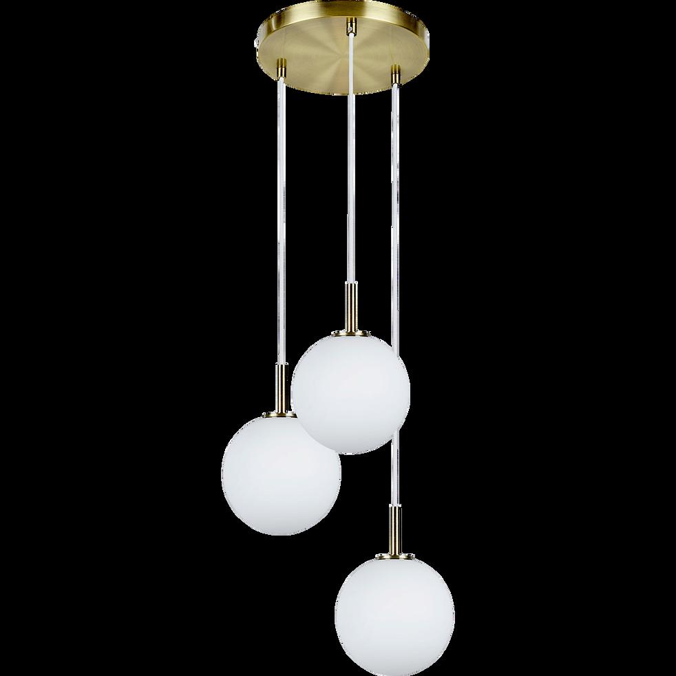 Suspension à 3 lumières en métal et verre D25cm-MARIA