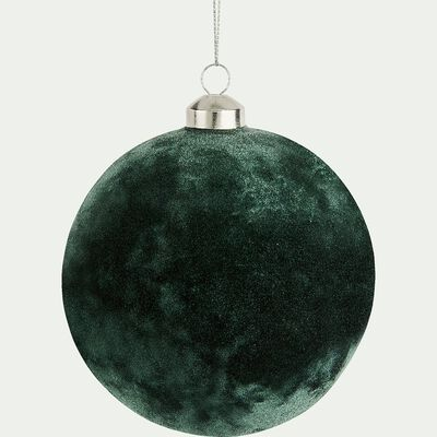 Boule de Noël effet velours vert D12cm-ANFOUS