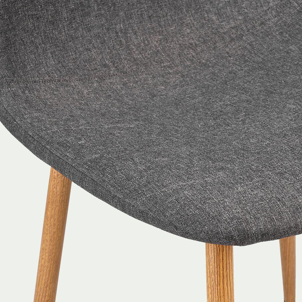 Chaise en acier impression bois et tissu - gris ardoise-LOANA