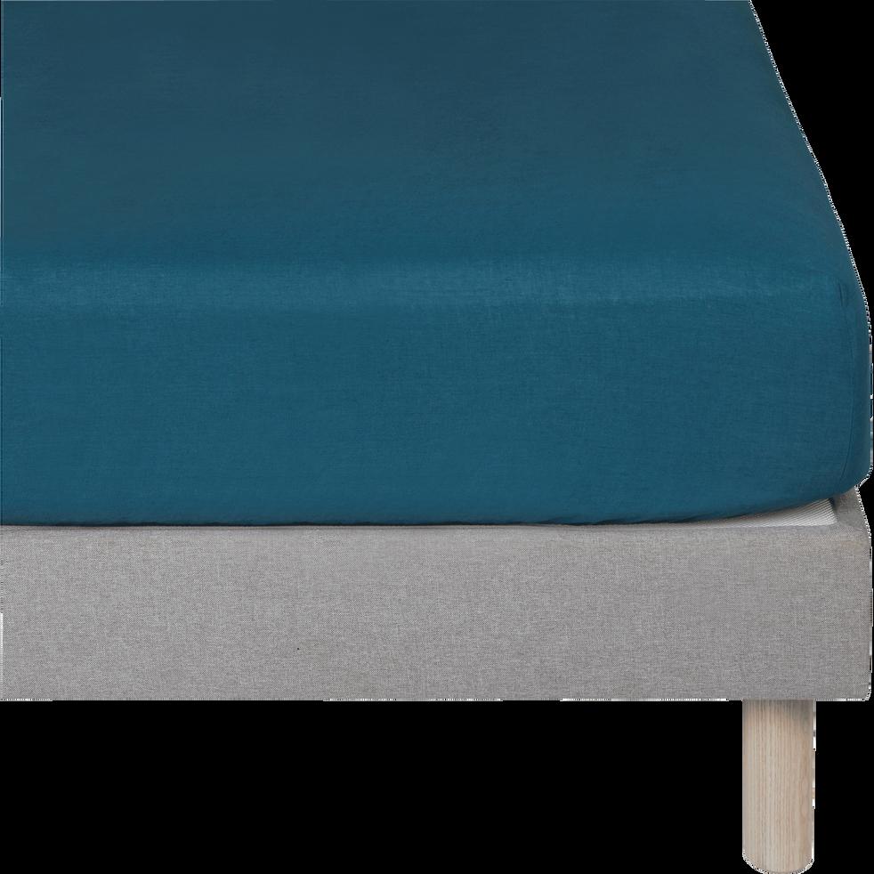 Drap housse en lin Bleu figuerolles 140x200cm bonnet 28cm-VENCE