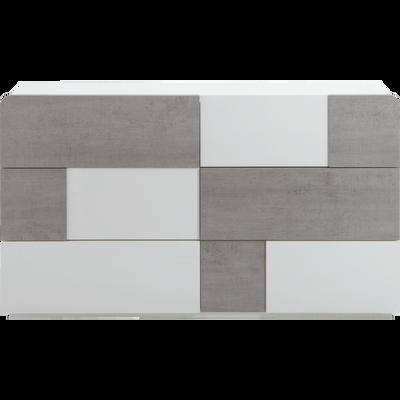 Commode 6 tiroirs Blanc laqué et béton-DELIA