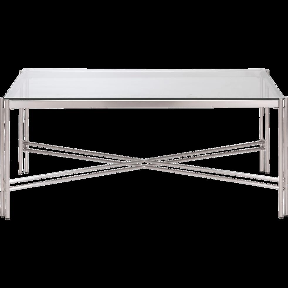 photos officielles 451ba 90dfc VIROLO - Table basse rectangulaire en verre et acier