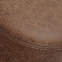 Pouf en tissu marron effet vieilli-OLDY