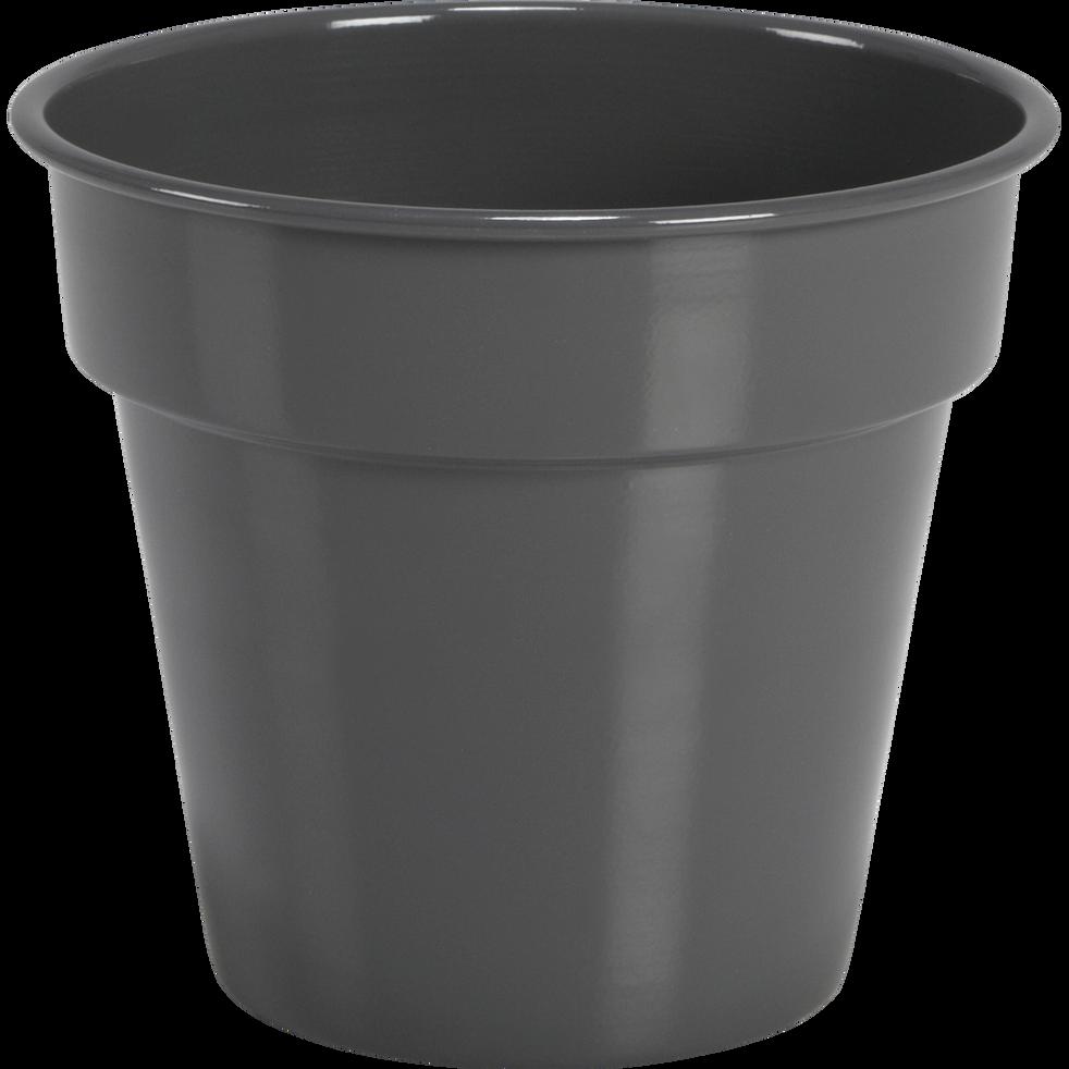 Cache-pot gris restanque en fer D27xH23cm-FLORA