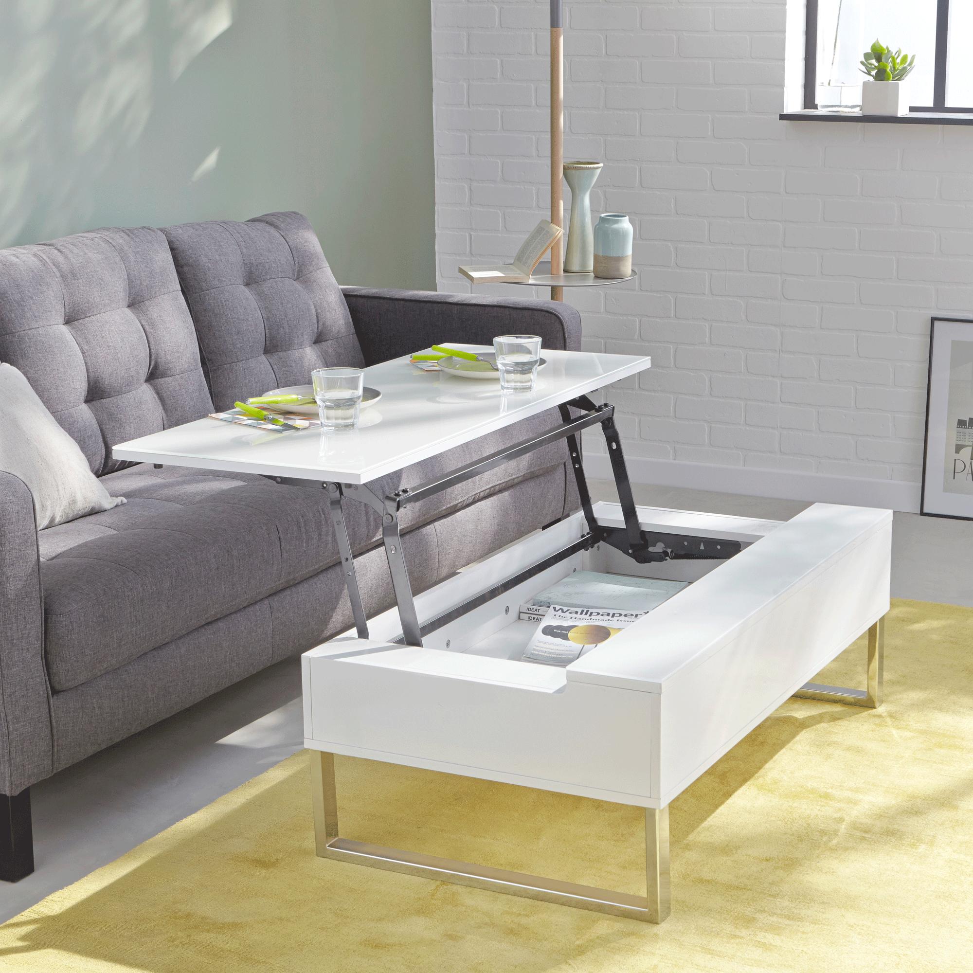 Design Salon Chambre Canapé Tables Hauteur Réglable Verre
