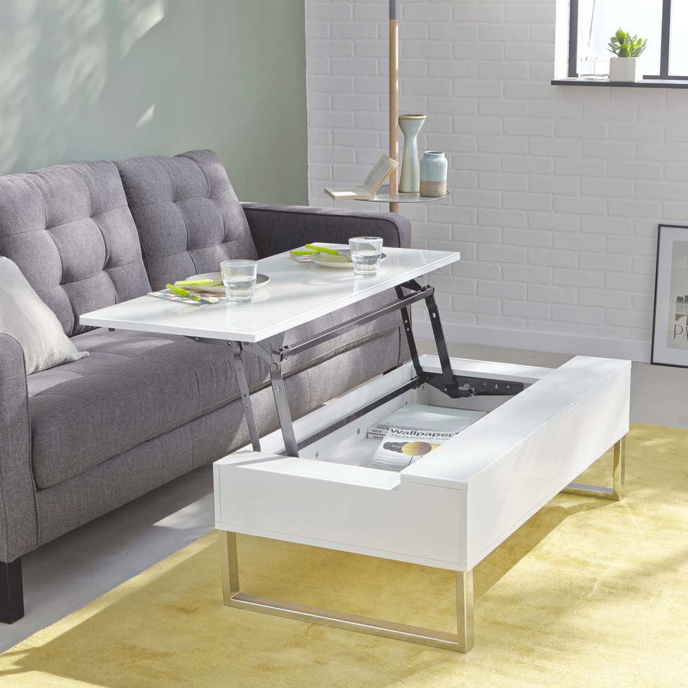table basse blanche avec tablette relevable novy tables basses alinea. Black Bedroom Furniture Sets. Home Design Ideas