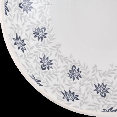 Assiette creuse en grès décoré gris borie D27cm-JASMIN