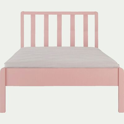 Lit 1 place en bois avec tête de lit à barreaux - rose salina 90x200cm-JAUME