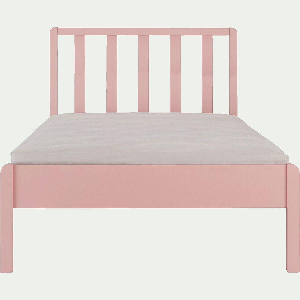 Lit 1 place enfant en bois avec tête de lit à barreaux 90x200cm - rose salina-JAUME