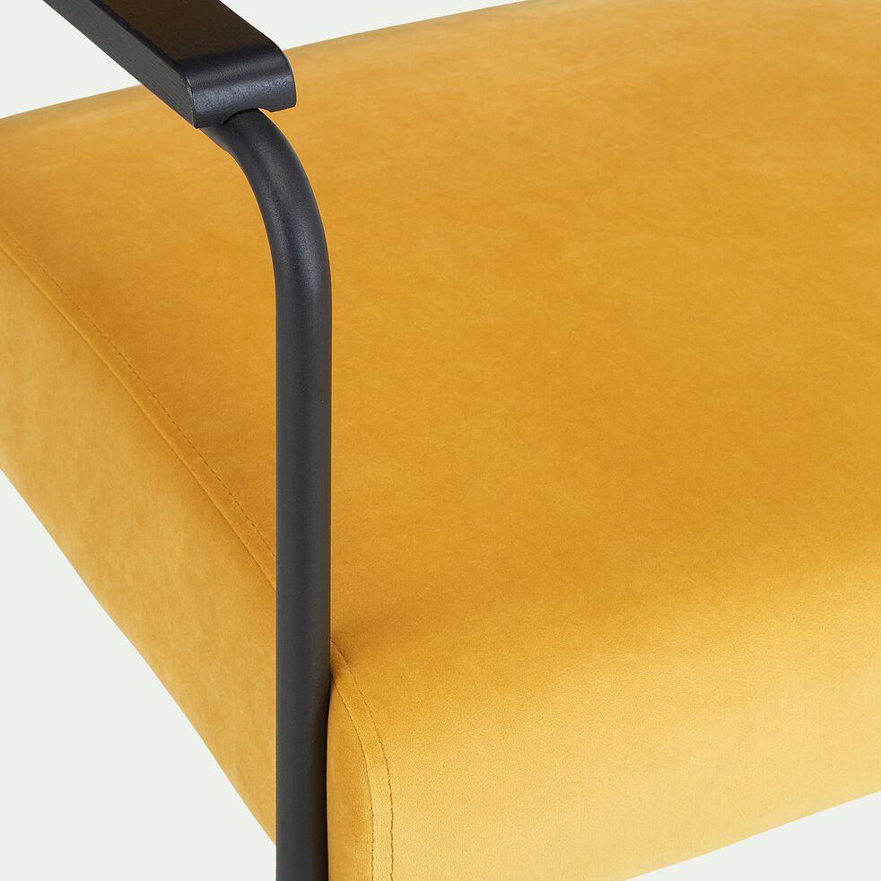 Fauteuil en velours avec accoudoirs - jaune-CLOE