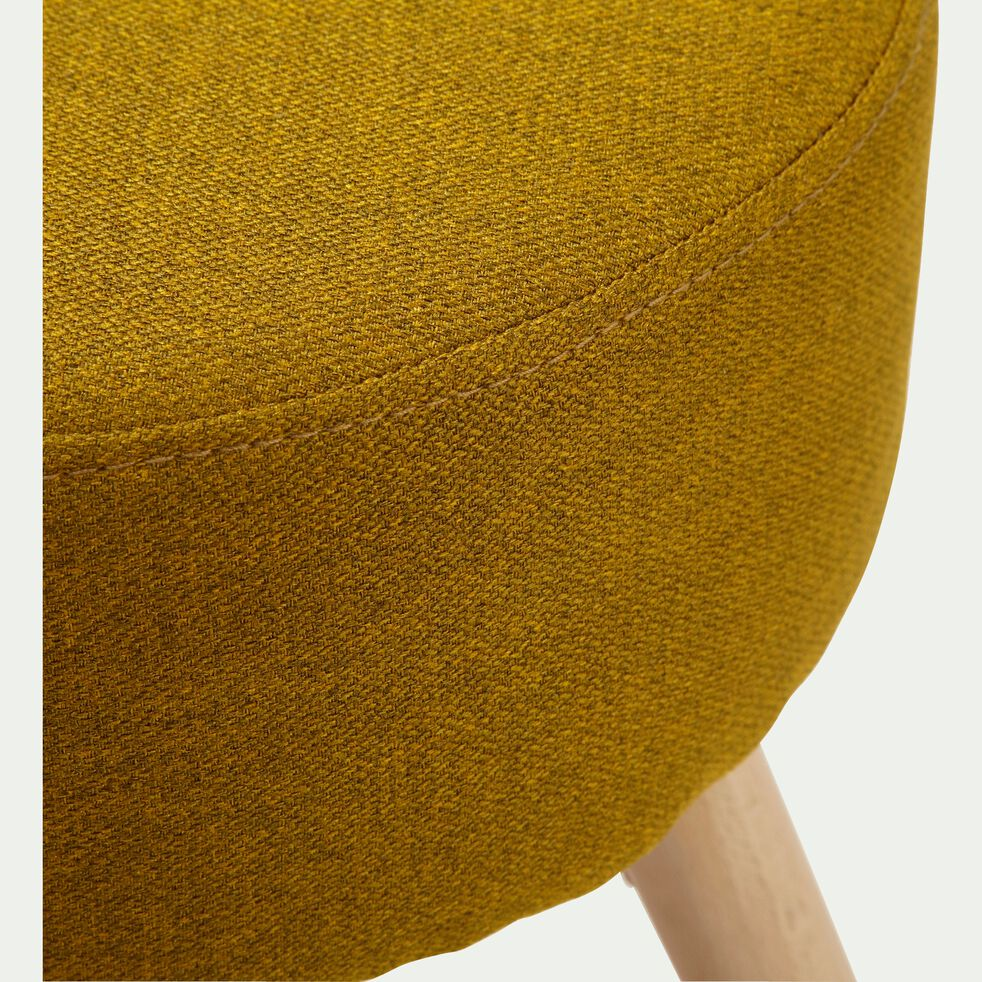 Tabouret en tissu jaune curry - H45cm-LUCIEN