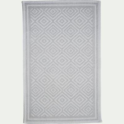 Tapis de bain surpiquage losanges en coton - gris borie 60x100cm-SADOU