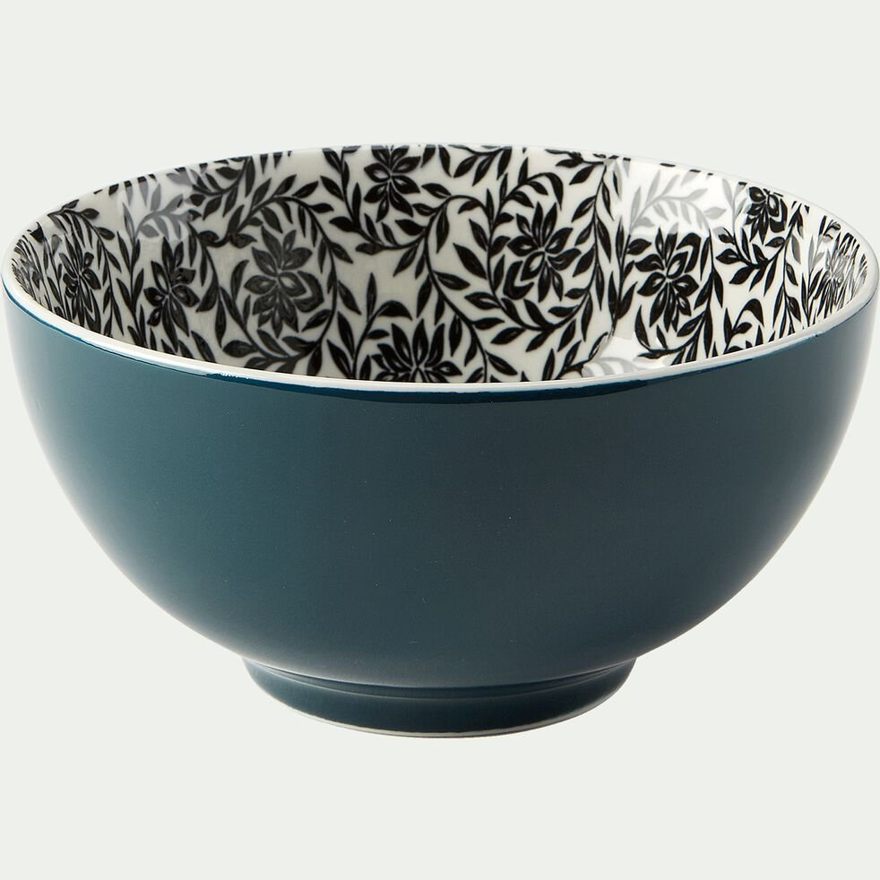 Bol en porcelaine motifs jasmin - bleu figuerolles D15cm-AIX