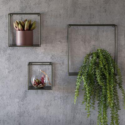 Lot de 3 étagères déco en acier - vert cèdre-CUBUS