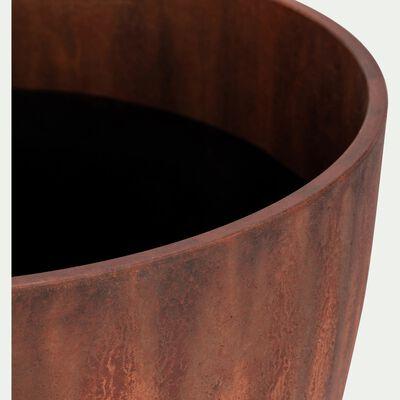 Cache-pot en plastique rouille D37cm-Bocca