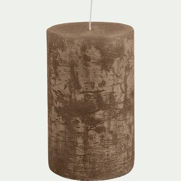 Bougie cylindrique -D7xH11cm marron-BEJAIA
