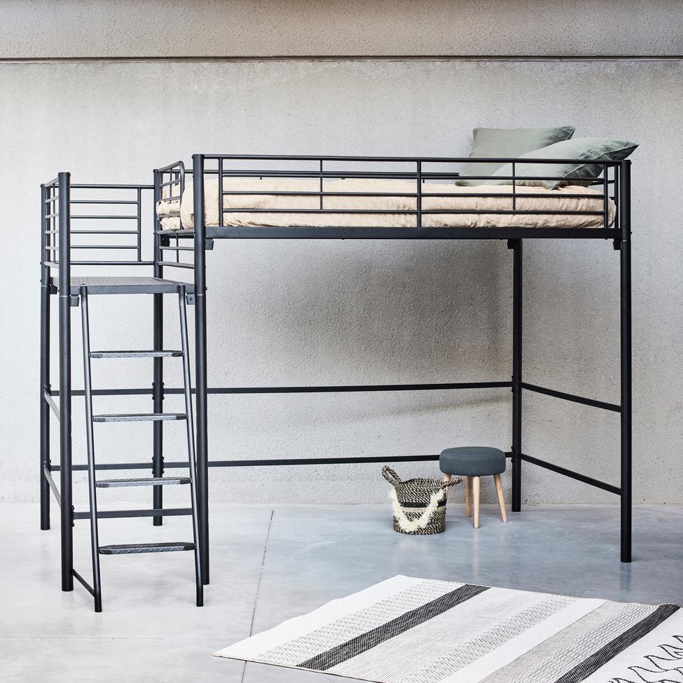 lit mezzanine 2 places en acier noir avec plateforme 140x200 cm alexy 140x200 cm lits