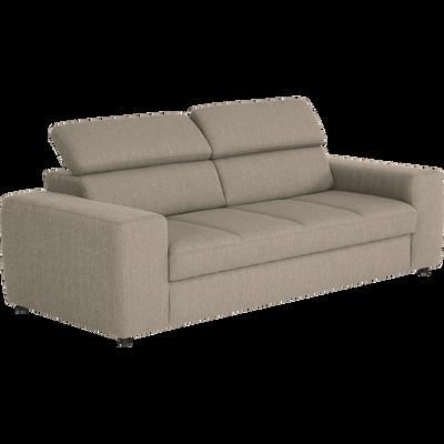 Canapé 3 places fixe en tissu grège-TONIN