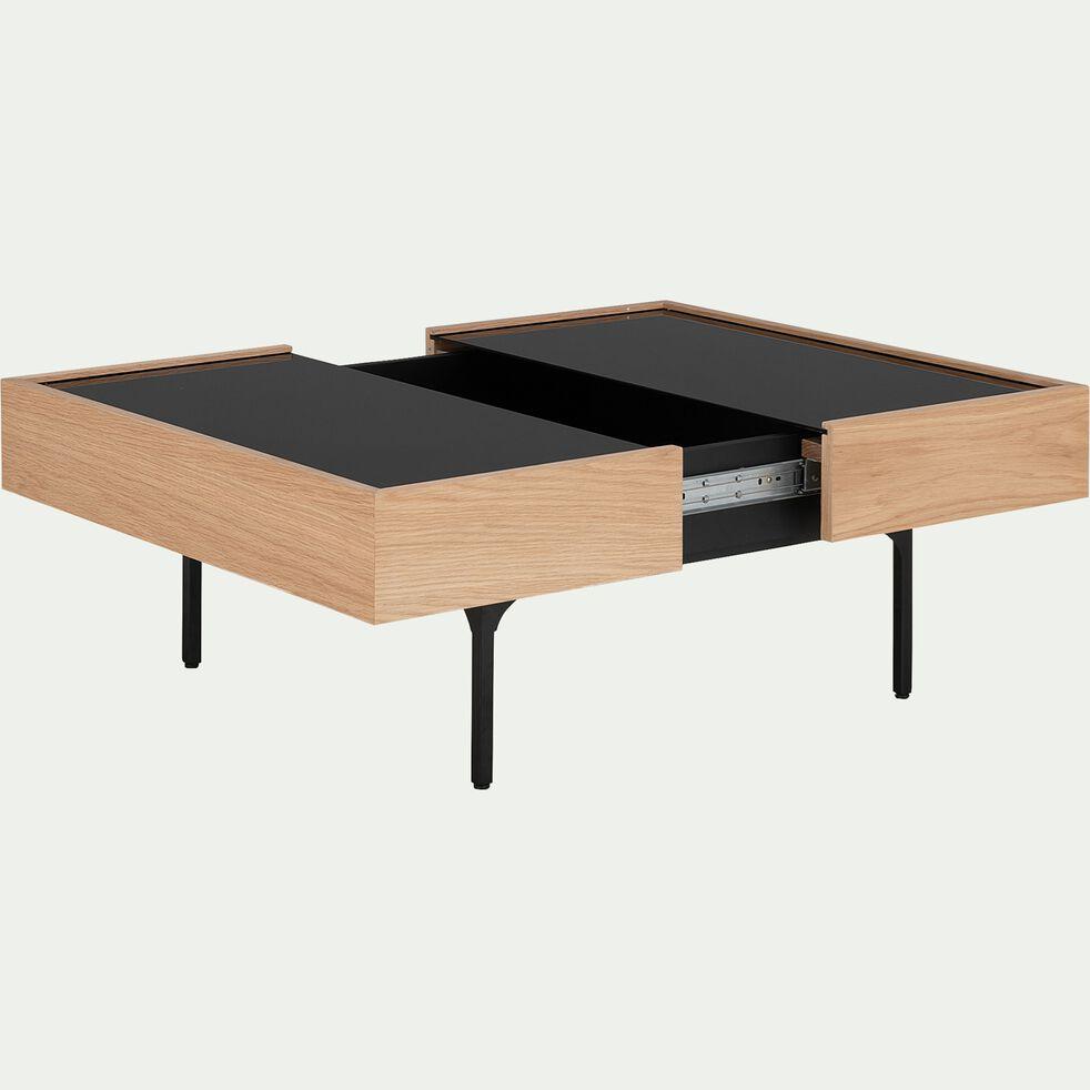 Table basse en verre et placage chêne avec plateau coulissant-GOUDE