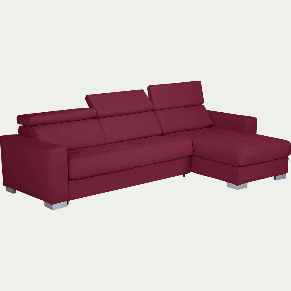 Canapé d'angle réversible en cuir de buffle rouge-Mauro