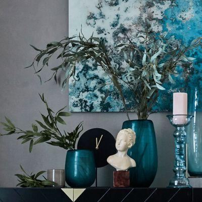 Vase en verre vert H21 cm-SAVIO
