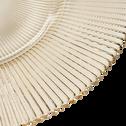 Assiette plate en verre strié doré D28.5cm-SUPERBE