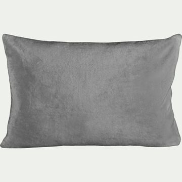 Housse de coussin effet polaire en polyester - gris restanque 40x60cm-ROBIN