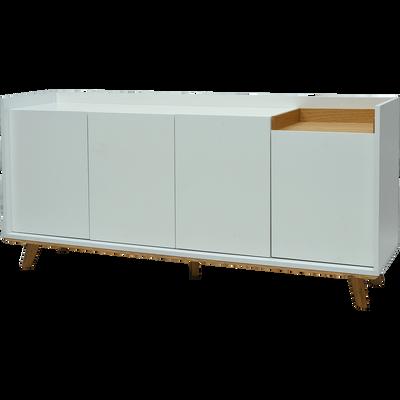Buffet bas blanc et chêne L160cm-SWEDO