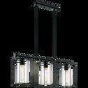 Suspension à 3 lumières en acier noir H110cm-LONCINO