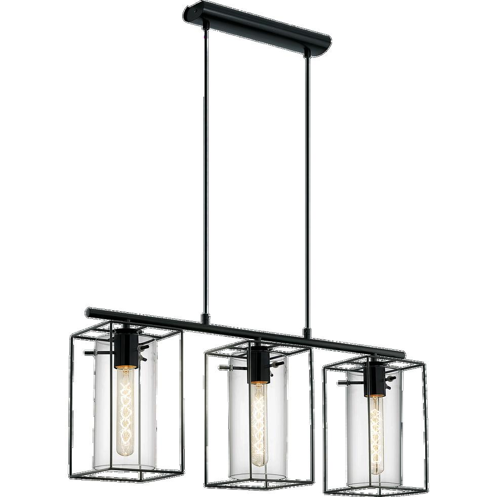 suspension 3 lumi res en acier noir h110cm loncino. Black Bedroom Furniture Sets. Home Design Ideas