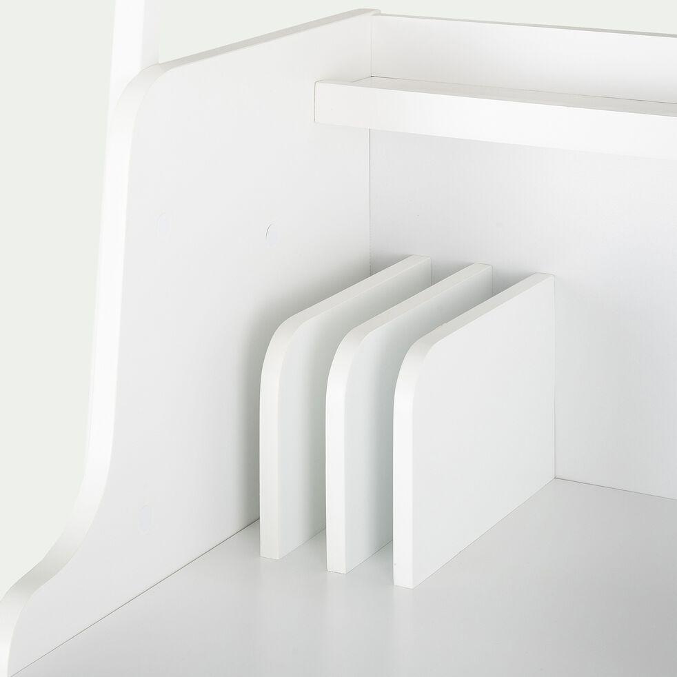 Bureau en bois et métal blanc avec 2 tablettes L80cm-ESTANIER