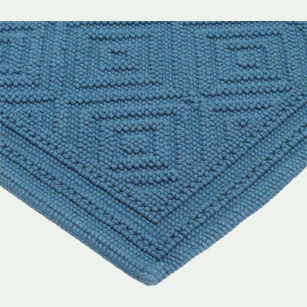 Tapis de bain surpiquage losanges en coton - bleu figuerolles 50x70cm-SADOU