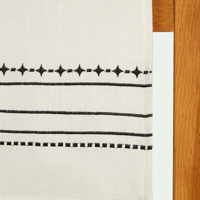 Chemin de table en coton blanc et noir 50x145cm-ISSA