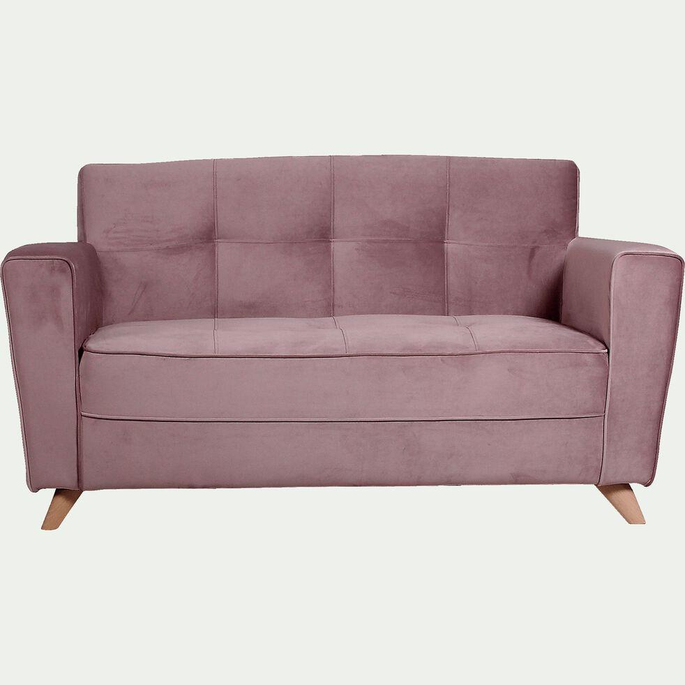 Canapé 2 places fixe en velours - rose-VICKY