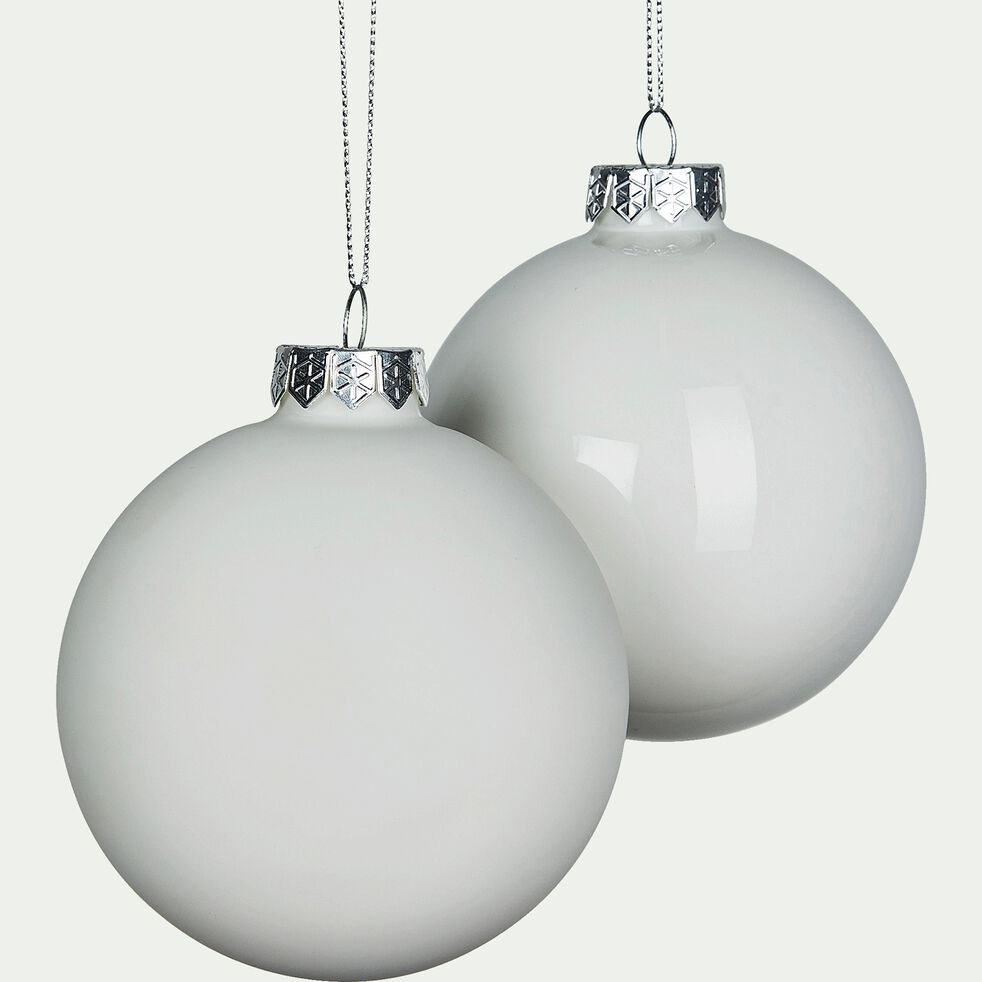 Lot de boules en verre blanches 4 pièces D10cm-quinet