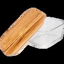 Boîte rectangulaire en verre avec couvercle en bois H7,90cm-SAPAN